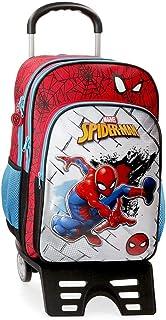 Spiderman Red Mochila Escolar con Carro, Rojo