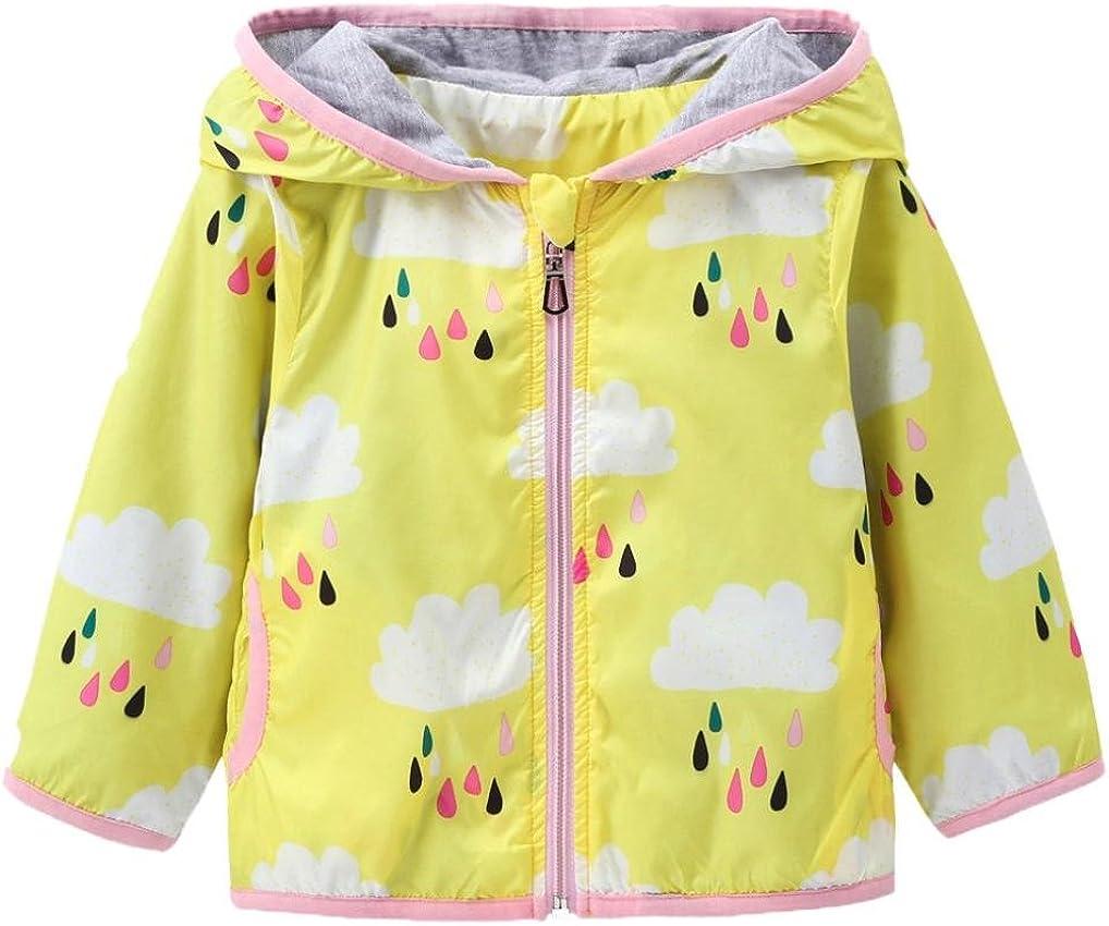 KONFA Teen Baby Boys Girls Rain Cloud Print Hooded Coat,Suitable for 0-5 Years Old,Fashion Jackets Sunscreen Cloak Tops