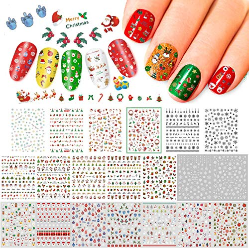 Whaline Christmas Nail Art Stickers, 1500+Pcs 3D Self-Adhesive Stickers Santa Claus Reindeer X-mas Tree Bells Snowflakes Decals for Women Girls Kids Manicure DIY or Nail Salon(20 Sheets)