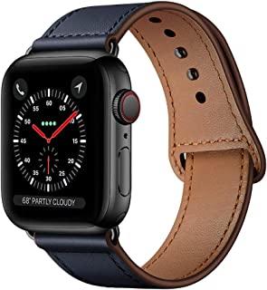 KYISGOS Compatible with iWatch Band 44mm 42mm, Genuine Leather Replacement Band Strap Compatible with Apple Watch Series 5 4 3 2 1 42mm 44mm, Dark Blue