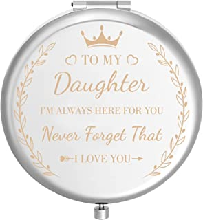 Lurrose Daughter Gifts from Mom, Portable Engraved To My Daughter Makeup Mirror 2X Enlarge Mirror for Graduation Wedding Gift