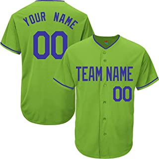 Light Green Custom Baseball Jersey for Men Women Youth Replica Embroidered Team Name & Numbers S-5XL Blue