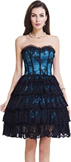 SZIVYSHI Women's Sexy 14 Plastic Boned Lace up Bustier Corset Dress