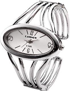 JSDDE Women Elegant Oval Silver Tone Bangle Cuff Bracelet Dress Watch 6-Thanksgiving