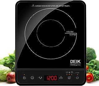 Deik placa inducción portatil multifunción con 2000W, controles táctiles, 10 niveles de temperatura de 60 °C a 240 °C, temporizador regulable, negro