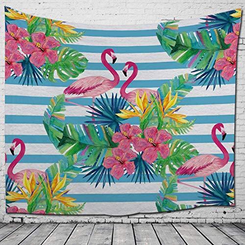 Tapiz para Colgar en la Pared, líneas Azules abstractas y flamencos Impresos en 3D con Lona Grande para Colgar Hippie Bohemio para decoración de Paredes de dormitorios de Estudiantes (200 cm * 150cm)