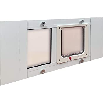 """Ideal Pet Products Aluminum Sash Window Pet Door, Adjustable to Fit Window Widths from 23"""" to 28"""""""