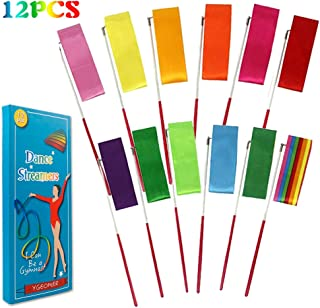 YGEOMER 12pcs Rhythmic Dance Ribbons Gym Ribbons Streamers Dancing Streamers, Rotating Baton, for Artistic Dancing