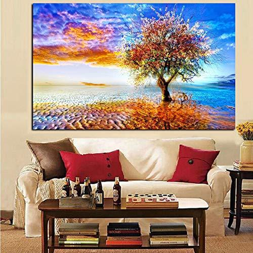 SADHAF Abstracte kleurrijke kunst landboom schilderij afbeelding kunst woonkamer decoratie op canvas muur 50x70cm (kein Rahmen) A3