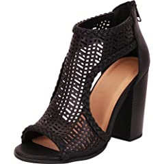 7526ee7a13 Cambridge Select Women s Open Toe Laser Cutout Caged Chunky B ..