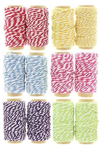 Melancholita Bastelschnur Dekokordel Bäckergarn Bakers Twine String Kordel Bastelgarn Paketband Geschenkband (Set 12 x 10 Meter Pastell Farben)