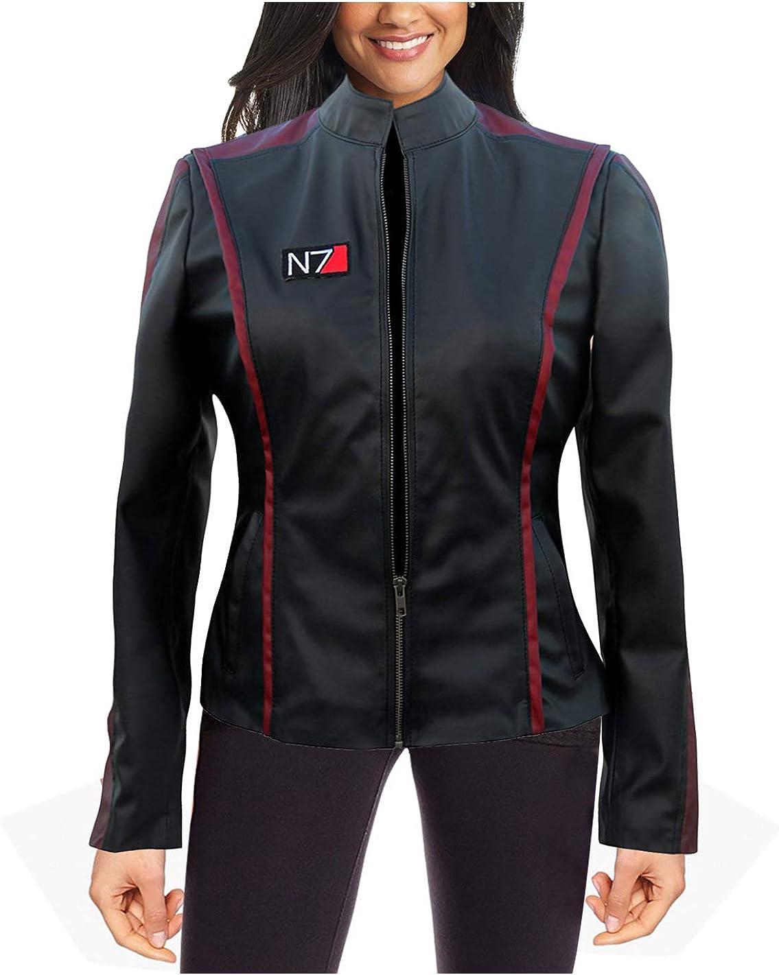 Women Gaming Effect Jacket - Red Stripes Girls Biker Black Leather Jacket for Women