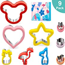 Sandwich Cutters Set for kids, 9Pc Holiday Cookie Cutters Vegetable Fruit Food Cutters for Boys & Girls with Mickey Mouse, Heart, Star, Mermaid, Flamingo, Pineapple Shapes-Food Grade Stainless Steel