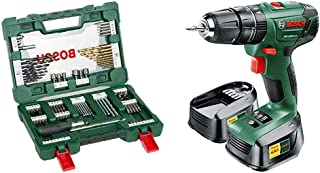 Bosch PSB 1800 LI-2 Cordless Combi Drill with Two 18 V Lithium-Ion Batteries and 91 Piece sccessory Set