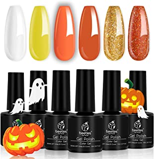 Beetles Halloween Color Gel Nail Polish Set, 6 Pcs White Glitter Gel Polish Color Changing Orange Nail Polish Gel Kit Art Design Gift Box, Soak Off UV LED Gel Nail Lamp Cured, 7.3ml Each Bottle