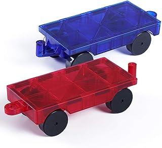 Jasonwell 2PCS Magnetic Car Truck Wheel Set for Magnetic Blocks Magnet Tiles Building Blocks Extra Long Bed Re-Enforced La...
