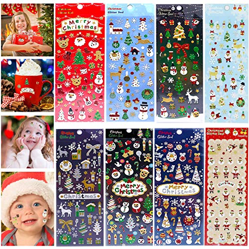 Pegatinas con Purpurina,pegatinas infantiles,Pegatina Navidad Etiqueta, Etiquetas Navideñas,Pegatina de Regalo,Pegatinas para Niños,3D Puffy Pegatinas (C)