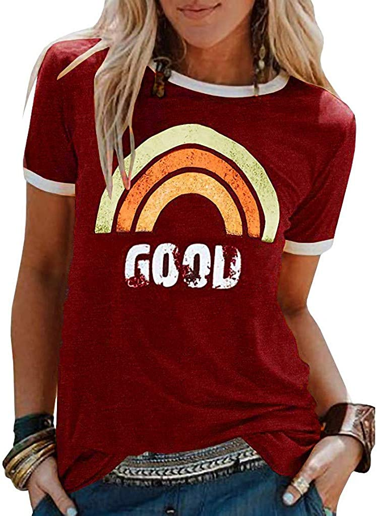 Womens Shorts Sleeve Rainbow Tank Tops Summer Ladies Shirts Tunics Vintage Graphic Blouse Casual Vacation Tunic