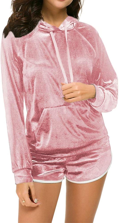 Fantasy Closet Women's 2 Piece Solid Velvet Tracksuit Set Striped Full Zipup Hooded Sweatshirts & Pants Set