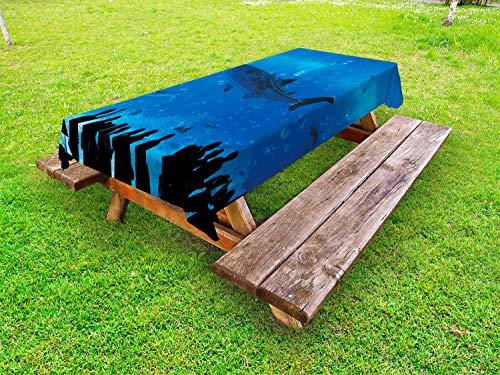 ABAKUHAUS Haai Tafelkleed voor Buitengebruik, Aquarium Park en People, Decoratief Wasbaar Tafelkleed voor Picknicktafel, 58 x 84 cm, Blauw Zwart