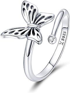 66947bf04b3af Chengmen Rings Jewellery Argent Sterling 925 Papillon Anneaux Ouverts pour  Femme Fille Animal de Noël Bague