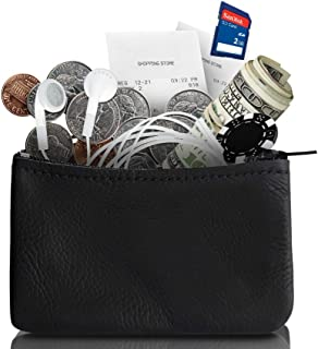 Zippered Coin Pouch, Change holder For Men/Woman made with Genuine Leather, Coin Purse, Pouch Size 4x2.5 inches, Made IN USA