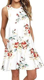 iTLOTL Women Floral Print Short Sleeve A-line Loose Dress
