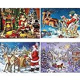 Kit completo per pittura a mosaico fai-da-te, a tema Babbo Natale, con strass di cristallo in 5D, idea regalo, confezione da 4