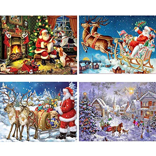 4 Pack Christmas Santa Claus DIY 5D Diamond Painting Full Kits, Crystal Rhinestone Embroidery Pictures Arts Craft Gift