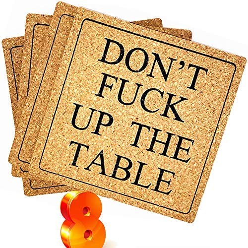 """ENKORE Funny Coasters For Drinks Absorbent - DON'T F UP THE TABLE (Uncensored) - 8 Pack 4"""" Square Pad, Bigger Than Standard Cork Cup Coaster,Light Weight,Disposable - Perfect Housewarming Hostess Gift"""