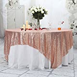 PartyDelight Sequin Tablecloth, Sequin Table Overlay, Square, 90'x90', Rose Gold