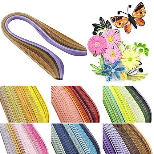Quilling-Papierstreifen,Papier Quilling 30 Farben 600 Streifen Quilling Papier sortiert Farbe Origami Scrapbooking DIY Handwerk (390 mm x5 mm)
