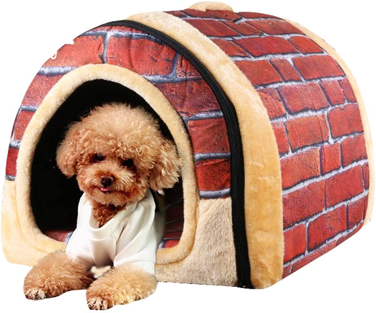 B&F Dog House,2 in 1 winter warm mats removable Kennel pet supplies small dogs cats Pet Kennel Puppy House Plush Dog Cat (color   A, Size   S)