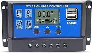 Controlador de carga solar Hinmay 10A-20A-30A regulador de carga inteligente- puerto USB- pantalla LCD protección de sobrecarga- Charging Current:30A Blue