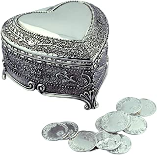 Arras De Boda Gift Set | Comes with Coins | 9 Styles | Wedding Metal Boxes Spanish Matrimony Ceremony (Heart Shaped with Flowers and Vines)