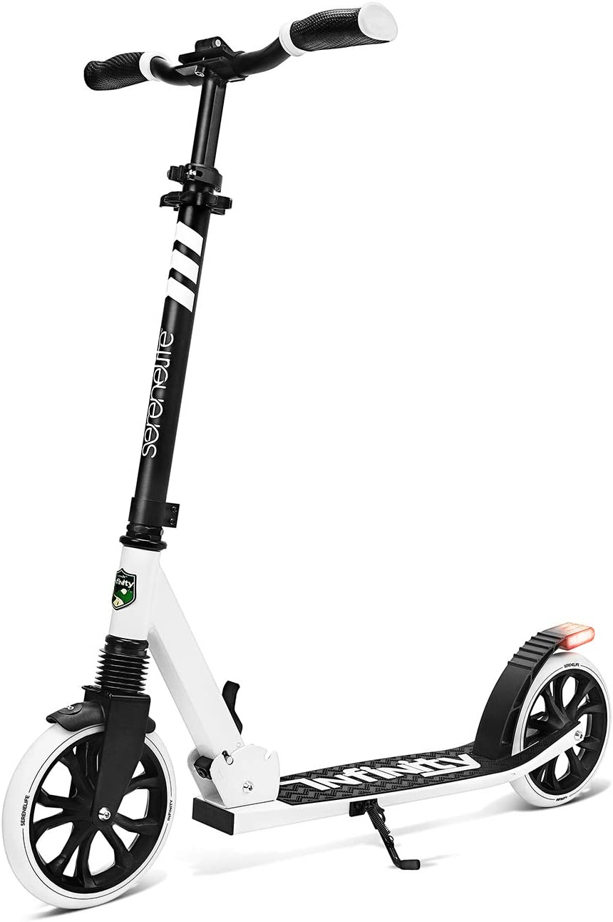 1-Kick Open Mechanism Boys and Girls Freestyle Scooter with Big Wheels Folding Kick Scooter for Adults and Kids Anti-Slip Rubber Deck and LED Light Folding Grips Handlebar Adjusts to 3 Heights