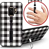 [ Compatible with Samsung Galaxy S9 ] Dual Armor Shockproof Finger Loop Strap Ring Holder Hard Case Cover with Kickstand (White Black Lumberjack Plaid)