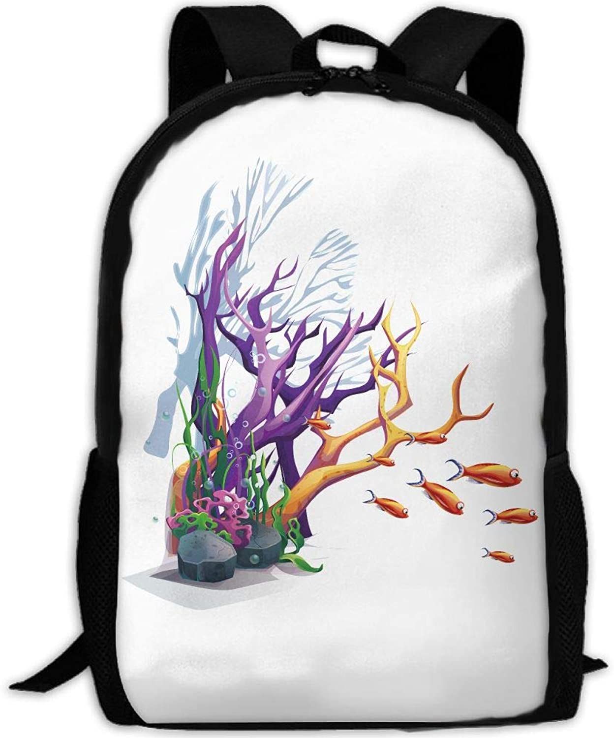Adult Backpack Rainbow Coral Tree College Oxford Bag Unisex Business