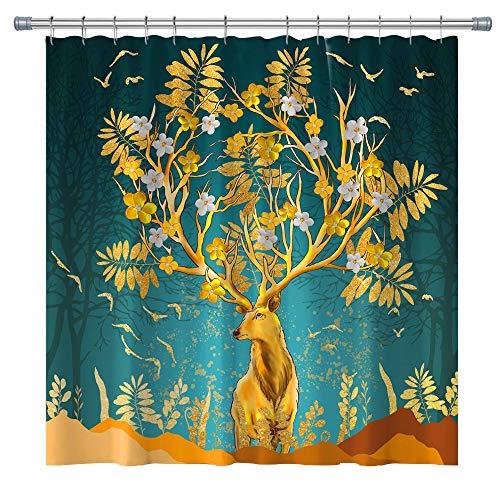 Elch-Duschvorhänge-Set mit Haken, 180,3 x 180,3 cm, Blau / goldfarben