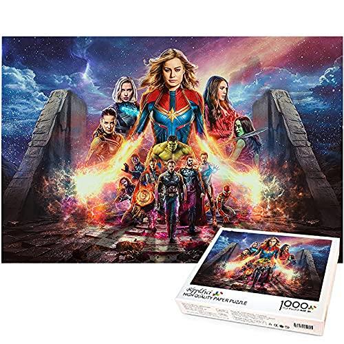 Capitán Marvel rompecabezas de 1000 piezas Los Vengadores divertidos rompecabezas 1000 juguetes de bricolaje decoración del hogar rompecabezas Marvel hero 75x50cm
