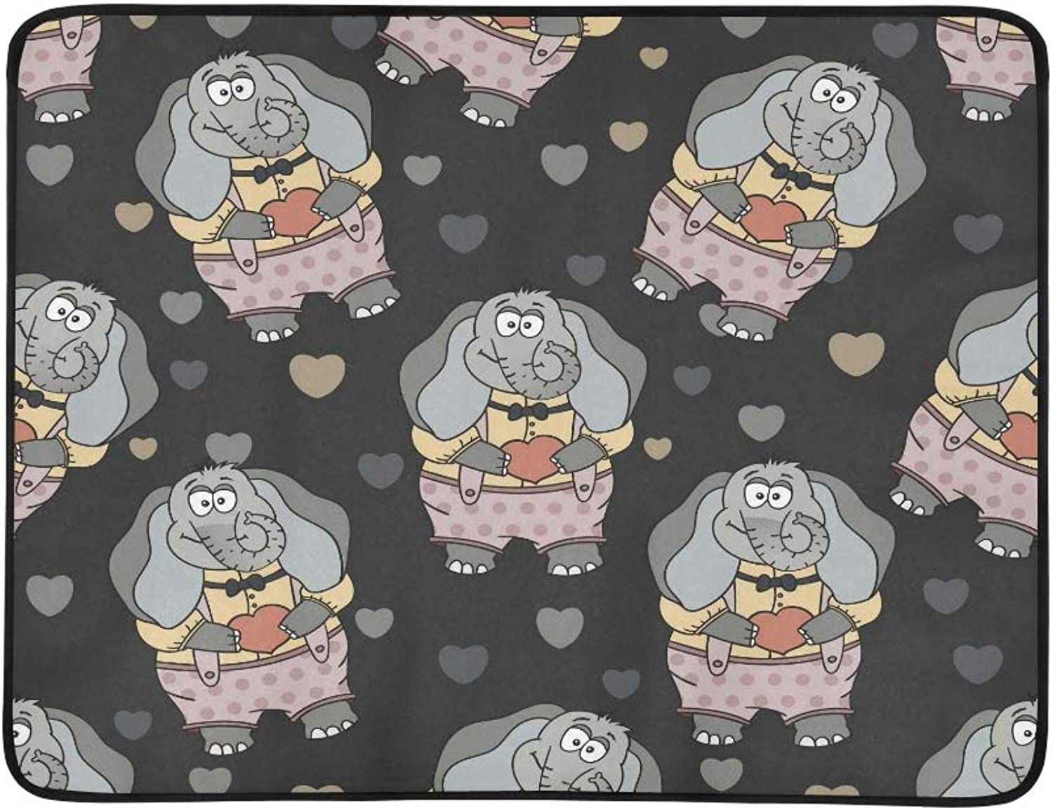 Cartoon Illustration of Funny Cute Elephant in Lov Pattern Portable and Foldable Blanket Mat 60x78 Inch Handy Mat for Camping Picnic Beach Indoor Outdoor Travel