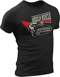 American Muscle Car Dodge Challenger 1964 Made in Detroit T-Shirt Mens Black