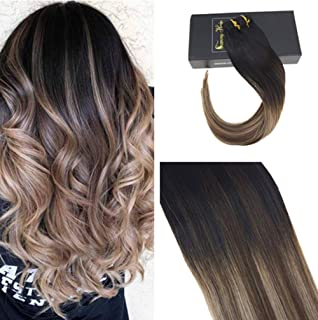 Sunny Clip in Hair Extensions 22 Clip in Balayage Human Hair Extensions Black Mixed Dark Brown and Ash Blonde Clip in Remy Hair Extensions Dark Brown 7pcs/120 gram