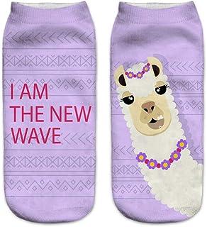 Calcetines Tobilleros 3D De Fiesta De Patrón De Alpaca De Dibujos Animados Lindo En 3D Calcetines De Poliéster De Moda Unisex Calcetines De Mujer