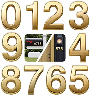 """Best HopeWan Mailbox Numbers, Self Adhesive Door Numbers for Apartment Office Hotel Room, Raised 3D Style, Gold Shining, 2-3/4IN High.(2.75"""" 10 Pack (0-9), Brass) Review"""