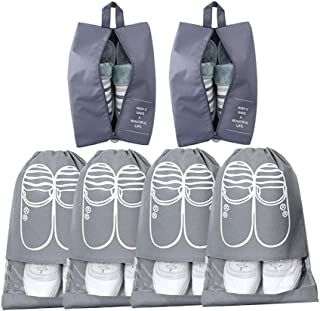 Oumart Shoe Bags for Travel (6 Pcs), Nylon and Strong Zipper Waterproof and Dust-Proof Shoes Storage Bag (Gray)