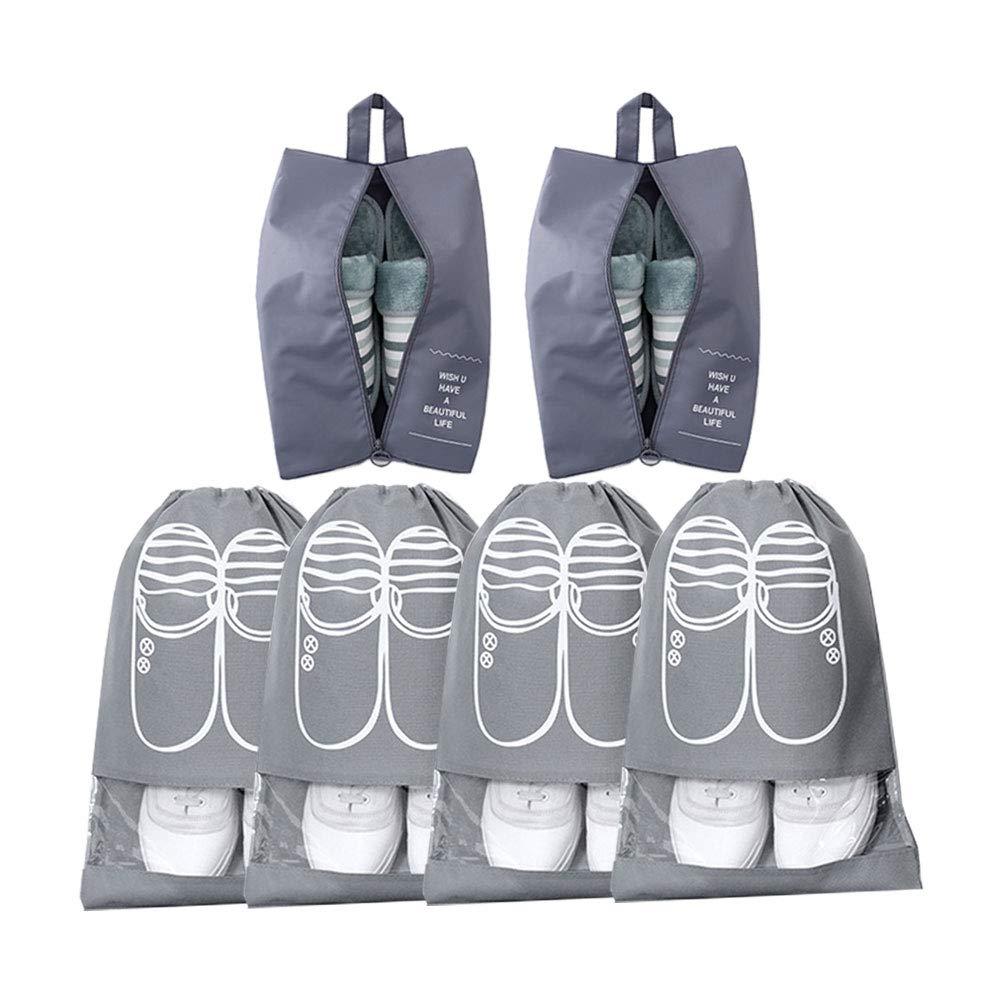 Oumart 旅行鞋袋(6 件),尼龙和强力拉链防水防尘鞋收纳袋(灰色)