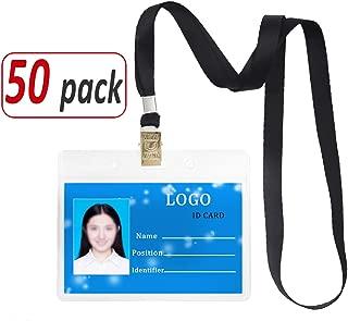 Aobear 50 pcs Upgrade Durable Waterproof Transparent Horizontal Name Tag id Badges and 50 pcs lanyards (Black)