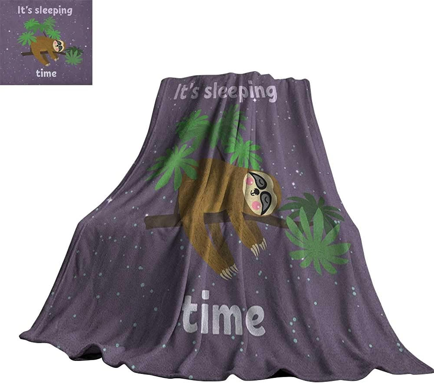 RenteriaDecor Sloth,Warm Blanket Cute Cartoon Character Sleeping on Branch Jungle Animal in Night Sky Kids Theme Throws for Couch Bed Living Room 70 x50
