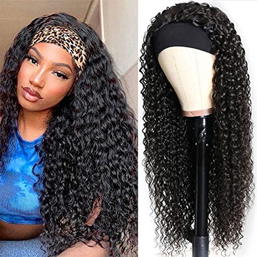 Headband Wigs Human Hair Deep Wave 16 Inch wigs Glueless Headband Wig Deep Wave None Lace Front Wigs Machine Made 150% Density Wigs Curly Hair Natural Color